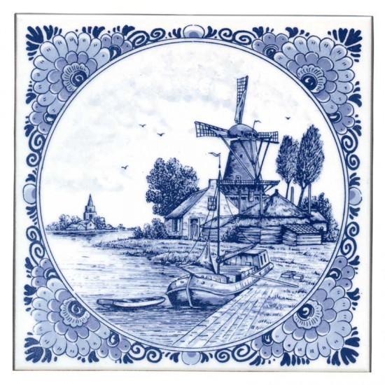 Tegel delfts blauw dorps molen schuit bloemenrand 15cm