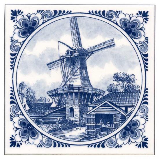Tile delft blue tower windmill flower edge 15cm