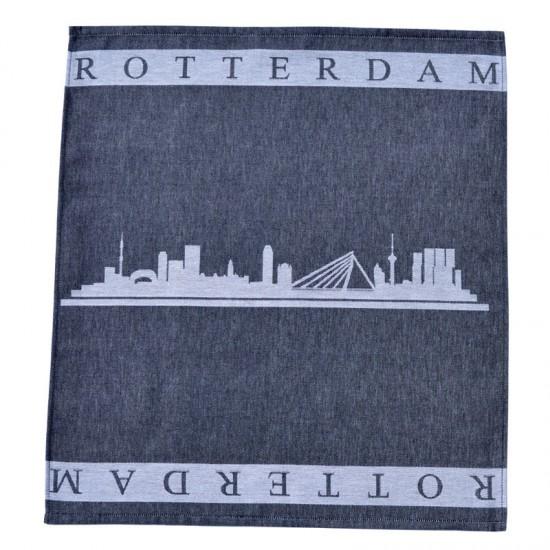Theedoek rotterdam skyline zwart wit twentse damast