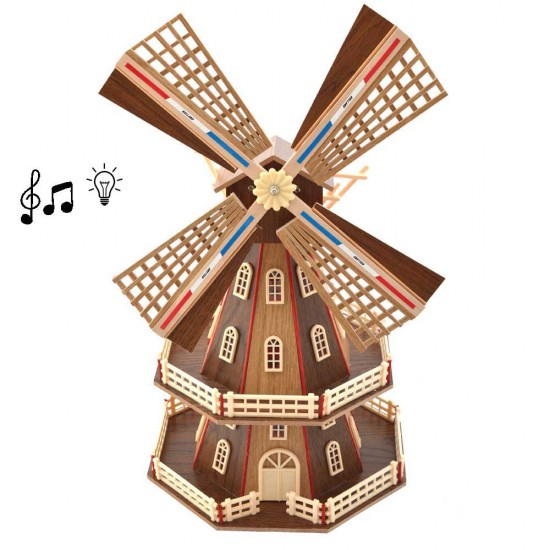 Wooden windmill light music natural 48cm