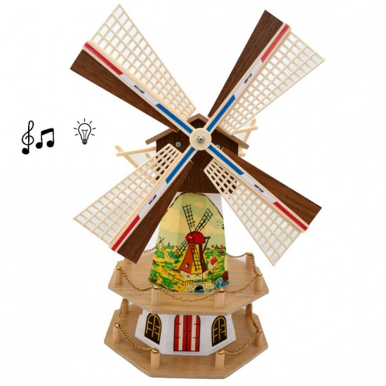 Wooden tower windmill light music white