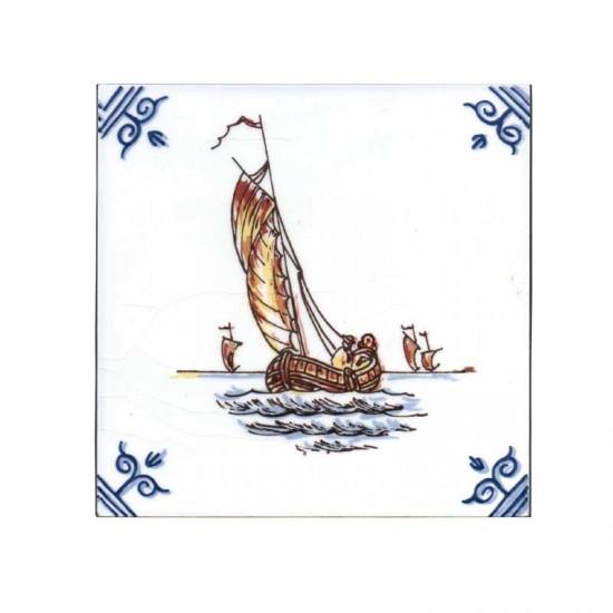 Tegel gekleurd delfts blauw zeilboot ossekop 11cm