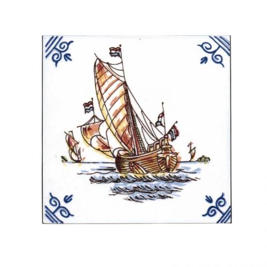 Tegel gekleurd delfts blauw zeilschip ossekop 11cm