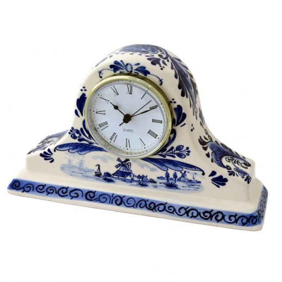 Mantelpiece clock delft blue windmill flower 12cm