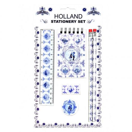 Schrijfwarenset holland delfts blauw 6-delig