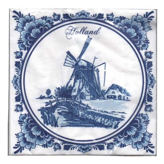 Servetten delfts blauw molen landschap holland bloemenrand