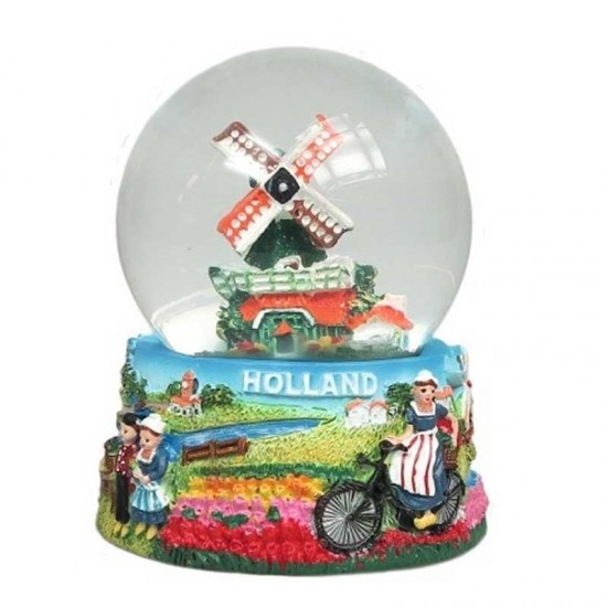Snow globe holland windmill bicycle tulipfield medium