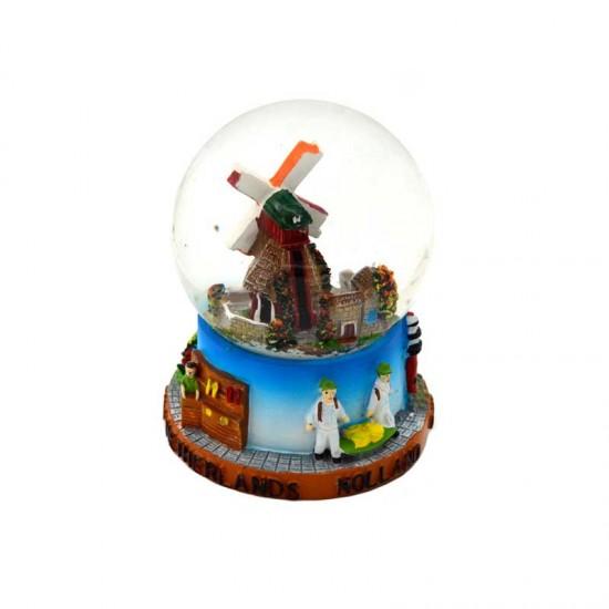 Snow globe holland windmill cow mini