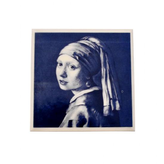 Tegel delfts blauw meisje met de parel vermeer 11cm