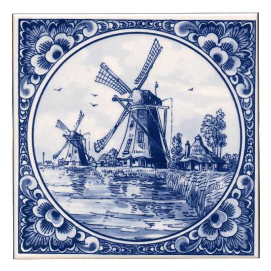 TILE DELFT FLOWER BORDER BLUE WINDMILL HAYSTACK  KINDERDIJK