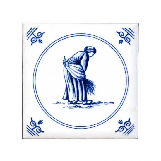 Tile delft blue old dutch crafts treshing 11cm