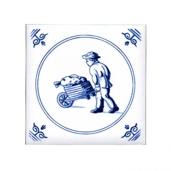 Tegel delfts blauw oud hollandse ambachten kruier 11cm