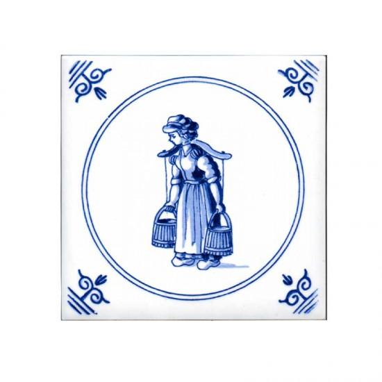 Tegel delfts blauw oud hollandse ambachten melkmeisje 11cm