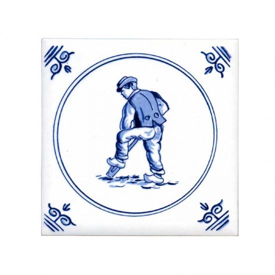 Tegel delfts blauw oud hollandse ambachten veldarbeider 11cm