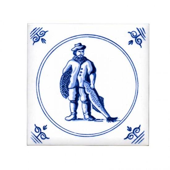 Tile delft blue old dutch crafts fisherman 11cm