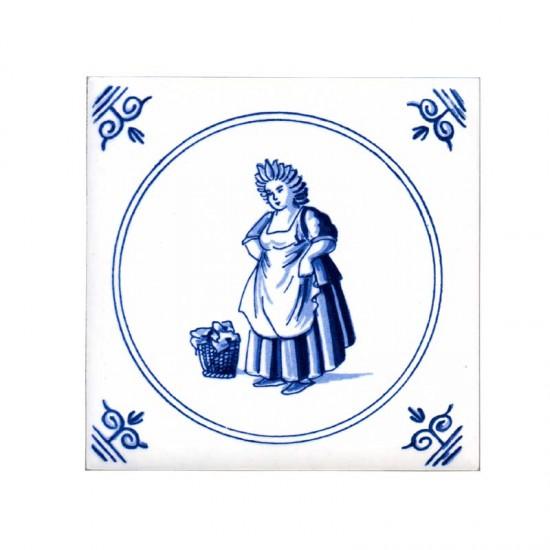 Tegel delfts blauw oud hollandse ambachten dienstmeid 11cm