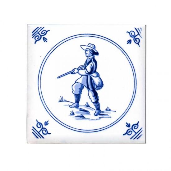 Tegel delfts blauw oud hollandse ambachten jager 11cm