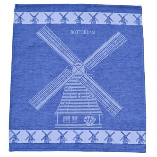 Theedoek rotterdam molens blauw wit twentse damast