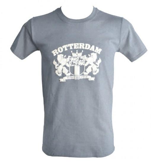 T-shirt het wapen van rotterdam sterker door strijd grijs