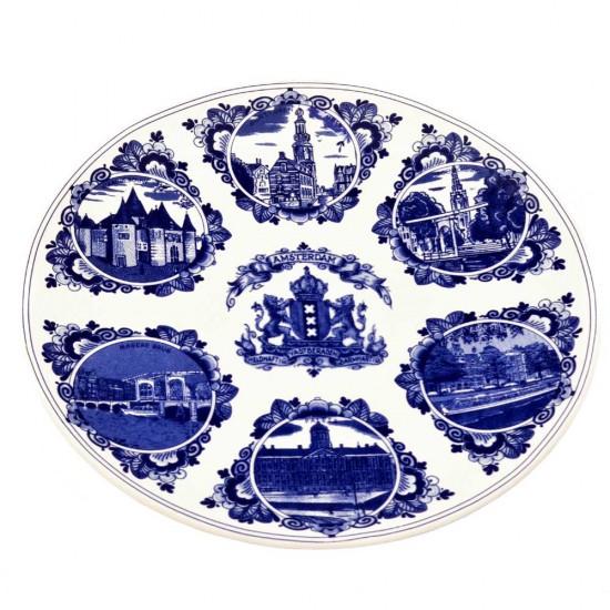 Delfts blauw wandbord amsterdam combi 20 cm