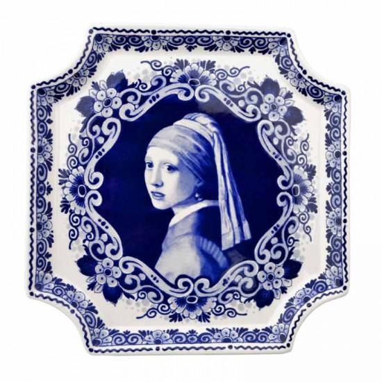 Applique delfts blauw meisje met de parel vermeer