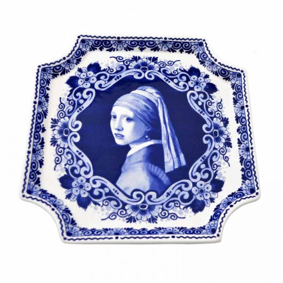 Applique delft blue girl with pearl earring vermeer