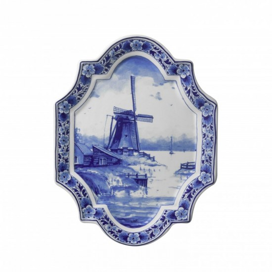 Applique delft blue windmill landscape large