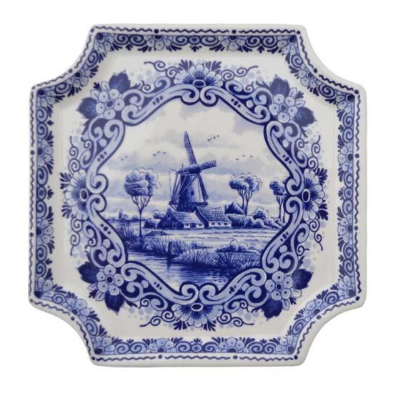 Applique delfts blauw molen landschap