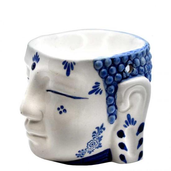 Buddha kopf delfter blau duftbrenner