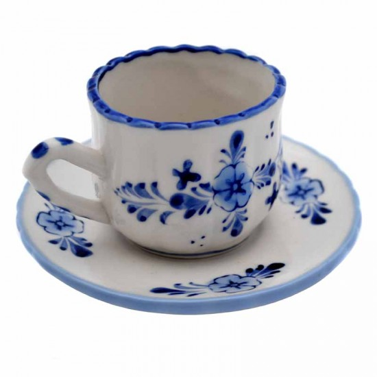 Cup and saucer delft blaue windmill flower decoration