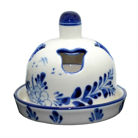 Butter dish delft blue windmill floral decoration