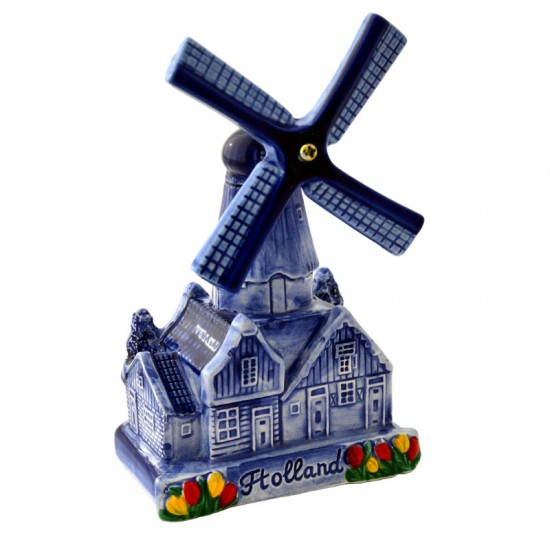 Village windmill delft blue houses tulips 14cm