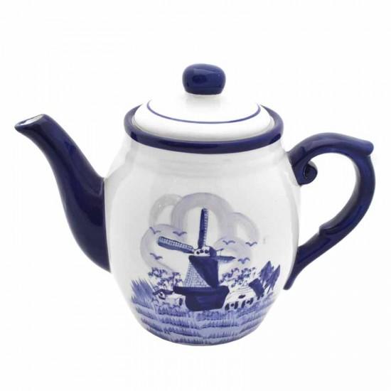 Coffee pot delft blue windmill landscape decoration
