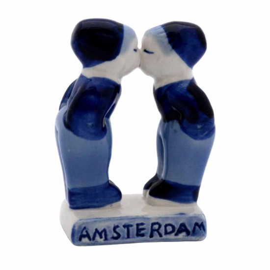 Kissing couple gay delft blue amsterdam 7cm