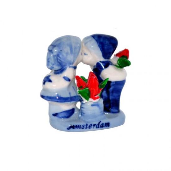 Mini kussendem paar delfter blau roten tulpen Amsterdam