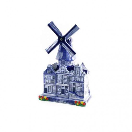 City windmill amsterdam delft blue canal houses tulips 14cm