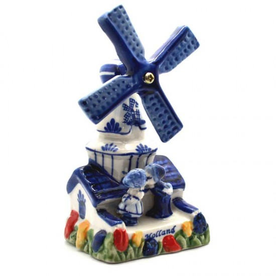 Windmill delfts blue holland kissing couple tulips color 11.5cm