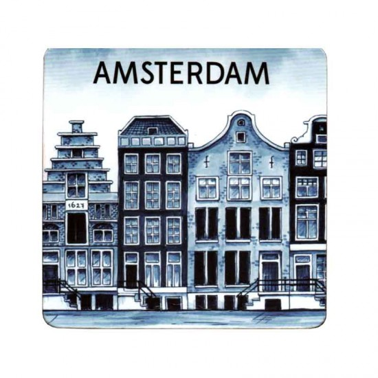 Coasters delft blue canal house amsterdam cork