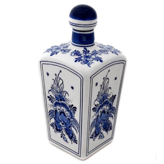 Porcelain gin jar delft blau floral motif square 0.75l