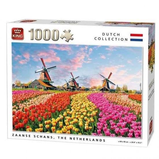 Puzzle windmuhle zaanse schans tulpenfeld 1000