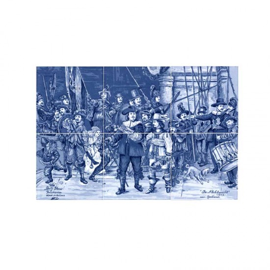 Tile panel the night watch rembrandt delft blue 10cm