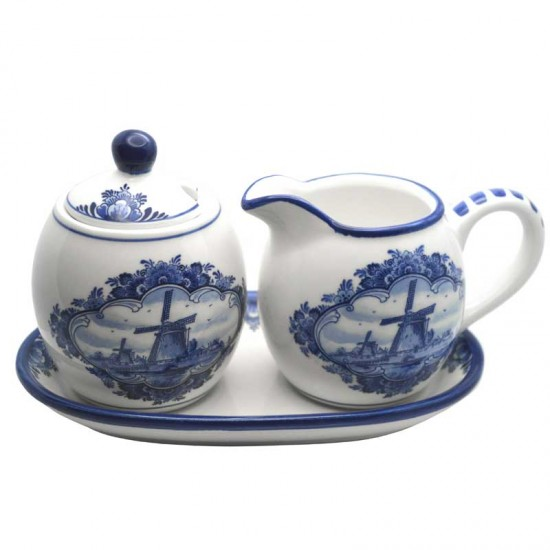 CREAM AND SUGER SET DELFT BLUE WINDMILL FLOWERS