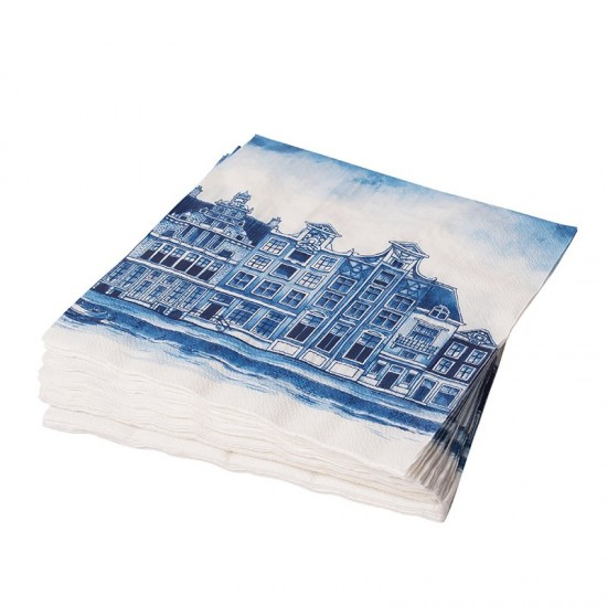 Napkins delft blue canal houses