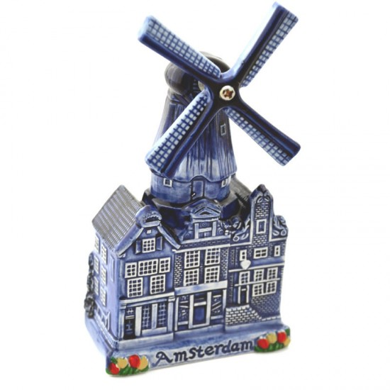 City windmill amsterdam delft blue canal houses tulips 17cm