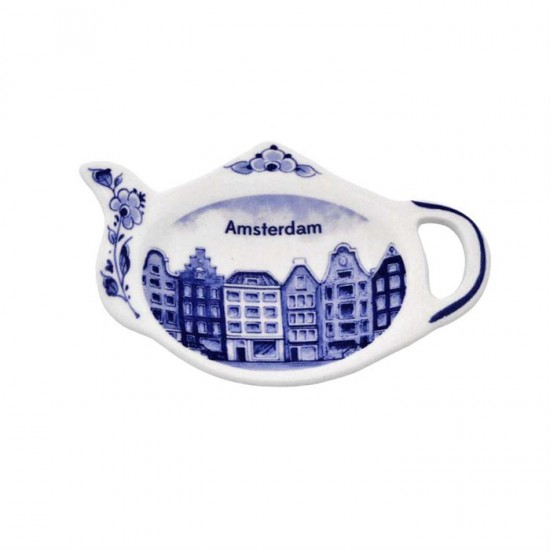 Tea bag holder delft blue canal houses amsterdam