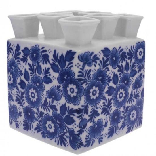 Tulip vase delft blue flowers square