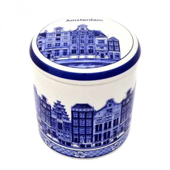 Storage jar delft blue canal houses amsterdam