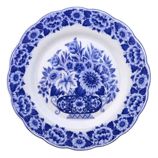 Wall plate delft blue flowers scalloped large 28 cm
