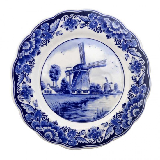 Wandbord Delfts blauw geschulpt landschap molen bloemen 22cm