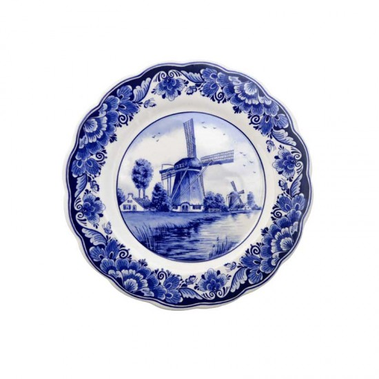 Wall plate Delft blue scalloped windmill landscape flower border